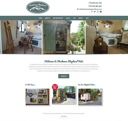 Stockman Shepherd Huts website screenshot