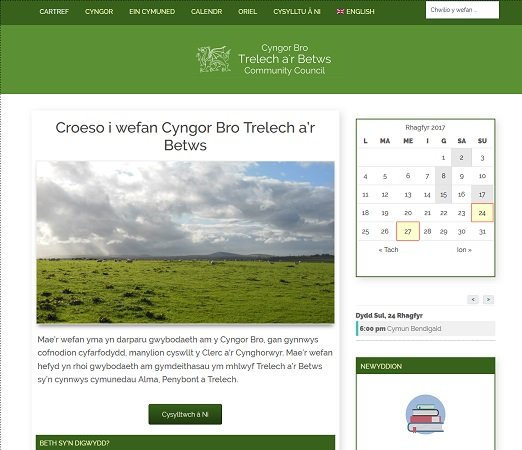 Cyngor Bro Trelech a r Betws Community Council website screenshot
