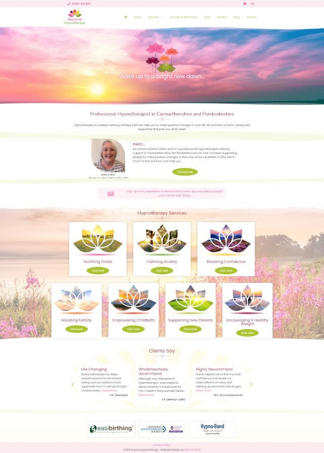 Aurora Hypnotherapy website screenshot