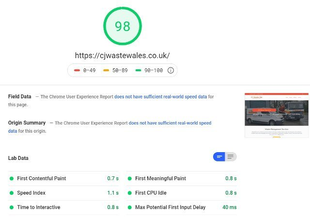CJ Waste Google Page Speed test results screenshot