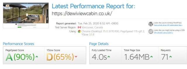 Dewi View Cabin GTMetrix result screenshot