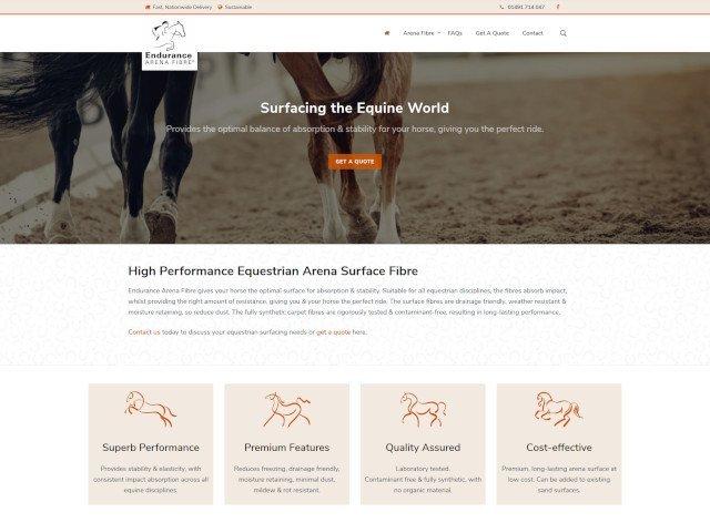 Endurance Arena Fibre website screenshot