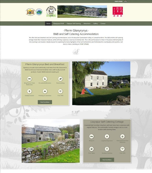 Fferm Glanyrynys website screenshot
