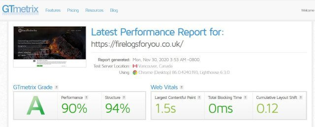 Fire Logs For You gtmetrix test results screenshot