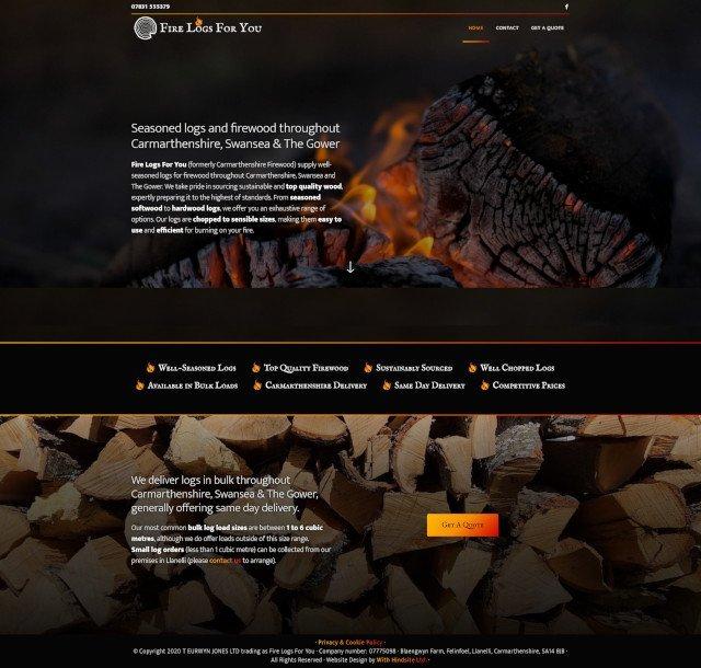 Fire Logs For You website screenshot