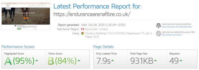 GTMetrix - Endurance website test results screenshot