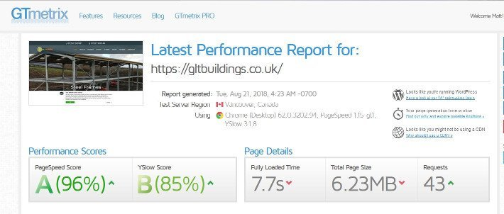 GLT & Son website test results screenshot
