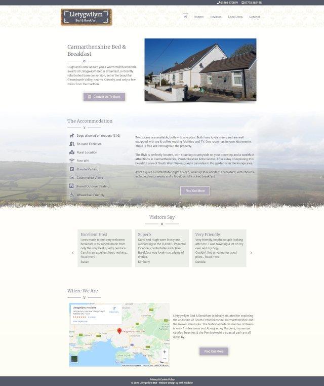 Lletygwilym Bed & Breakfast website screenshot