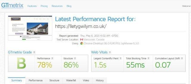 Lletygwilym GTmetrix results screenshot