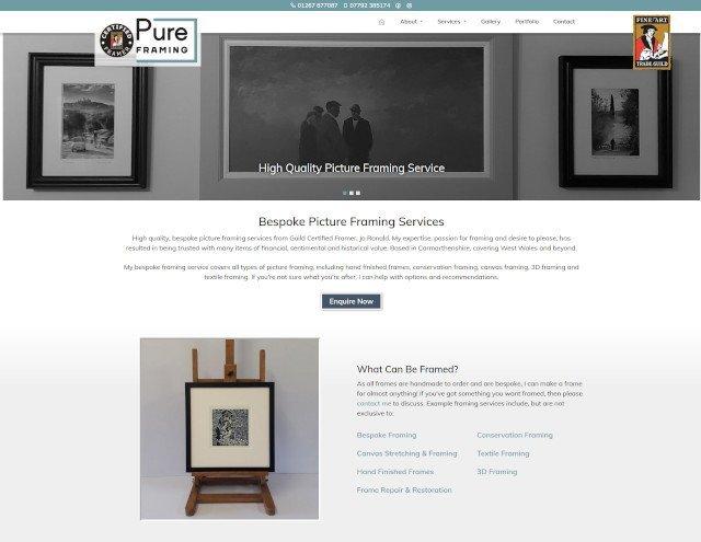 New Pure Framing website screenshot