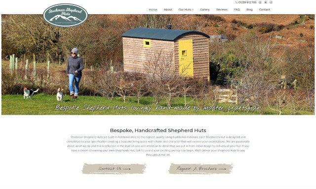 Stockman Shepherd Huts new website screenshot