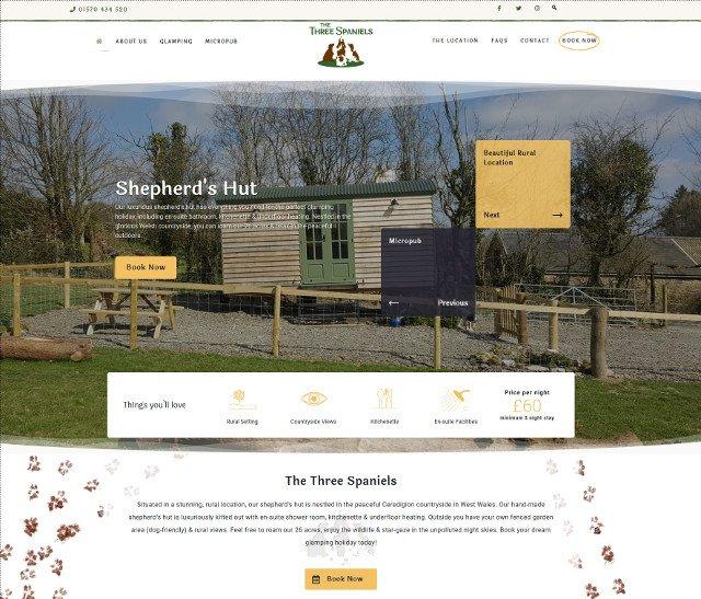 The Three Spaniels website screenshot